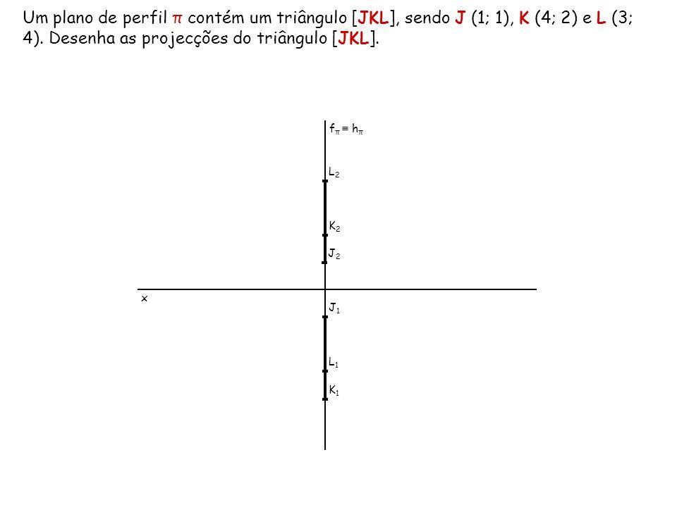 Um plano de perfil π contém um triângulo [JKL], sendo J (1; 1), K (4; 2) e L (3; 4). Desenha as projecções do triângulo [JKL].